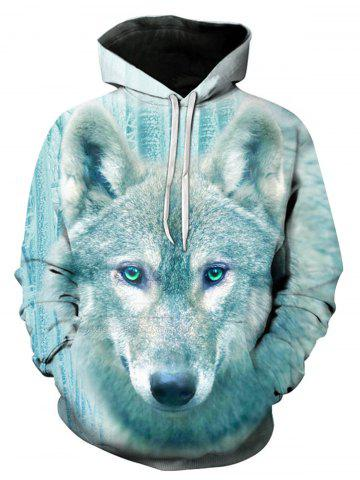 Sale Wolf 3D Print Pullover Hoodie - L COLORMIX Mobile