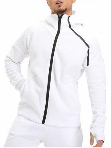 Cheap Drop Shoulder Zip Up Hoodie - M WHITE Mobile