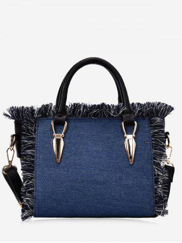 Outfits Metaled Denim Tote Bag BLUE