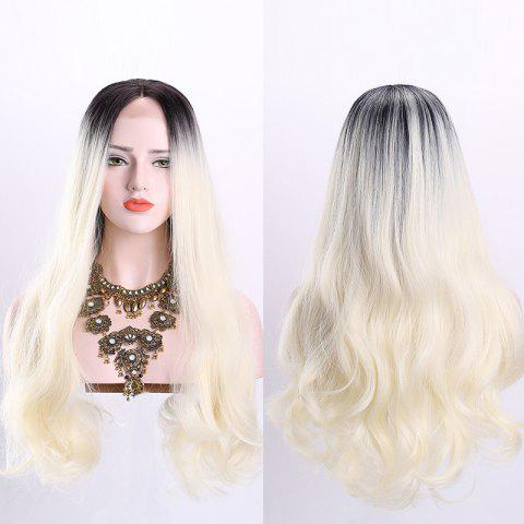 New Long Middle Part Wavy Ombre Synthetic Lace Front Wig OFF-WHITE