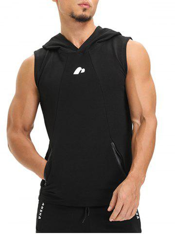 Outfits Zip Pockets Openwork Panel Vest BLACK L