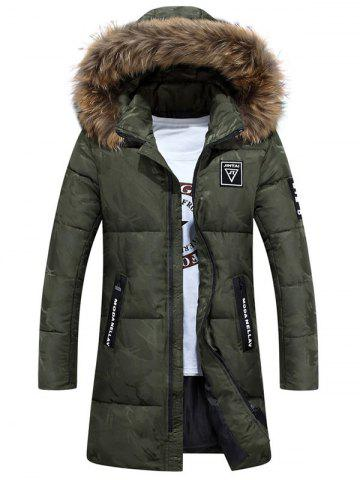 Outfits Patch Design Zip Up Hooded Quilted Coat - 3XL ARMY GREEN Mobile
