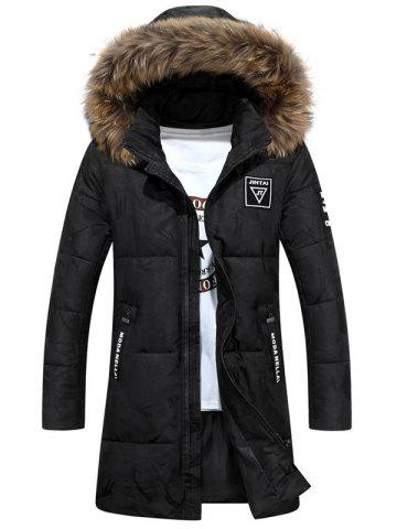 Hot Patch Design Zip Up Hooded Quilted Coat BLACK 3XL