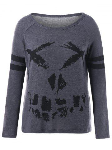 Hot Halloween Double Striped Plus Size Print Sweatshirt - XL DEEP GRAY Mobile
