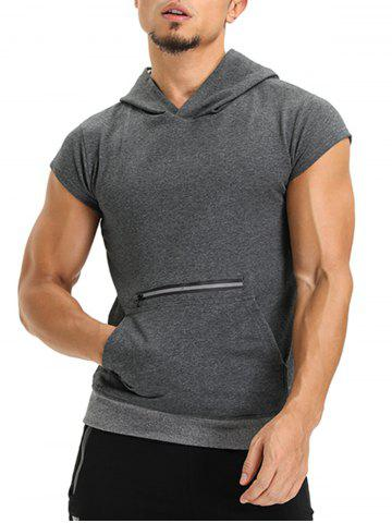 Online Zipper Hooded Pouch Pocket Vest DEEP GRAY XL