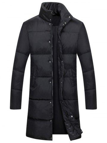 Hot Zip Up Funnel Neck Quilted Coat BLACK 3XL