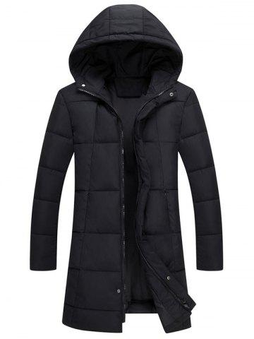 Zip Up Hooded Quilted Long Coat Noir 3XL