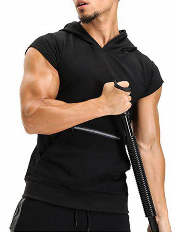 Shop Zipper Hooded Pouch Pocket Vest BLACK M