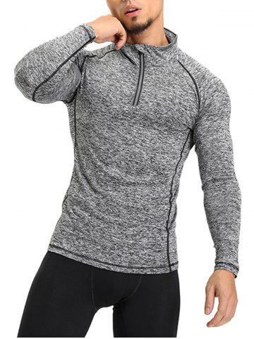 Best Half Zip Raglan Sleeve T-shirt - M GRAY Mobile