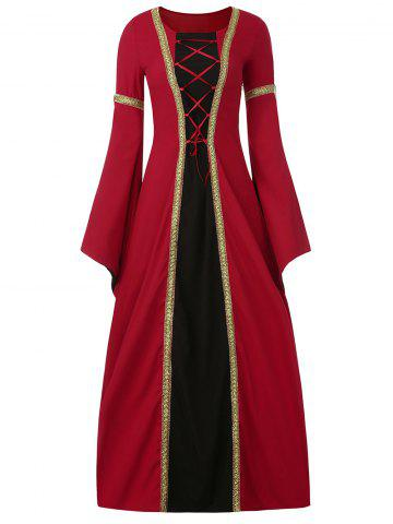 Chic Bell Sleeve Long Queen Costume Dress - XL RED Mobile