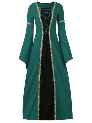 Outfits Bell Sleeve Long Queen Costume Dress - M GREEN Mobile