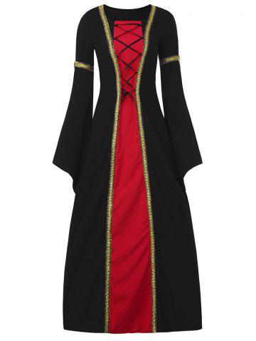 New Bell Sleeve Long Queen Costume Dress - 2XL BLACK Mobile