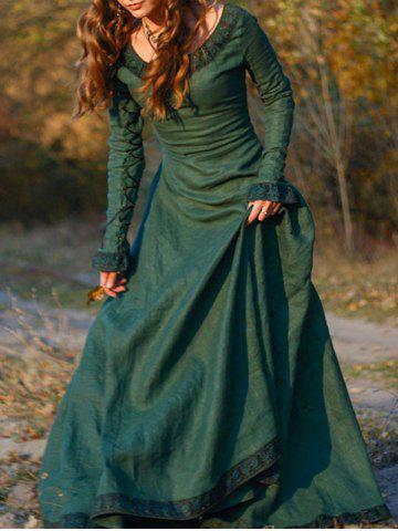 Store Floor Length Party Long Sleeve Dress - L GREEN Mobile