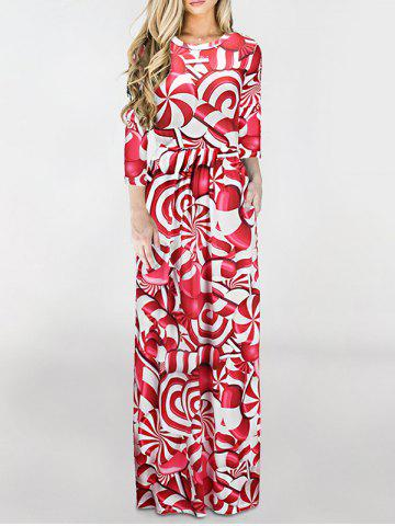 Outfit Floor Length Christmas Printed Dress RED M