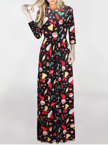 Trendy Maxi Christmas Gifts Print Dress