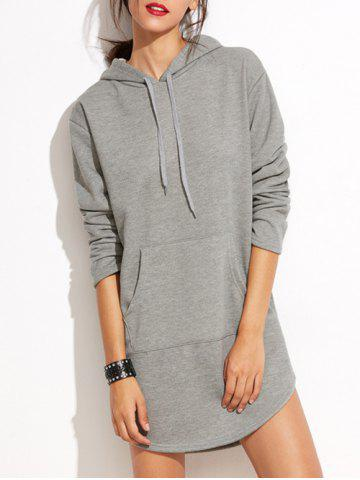 Unique Long Sleeve Hoodie Dress with Front Pocket - S GRAY Mobile