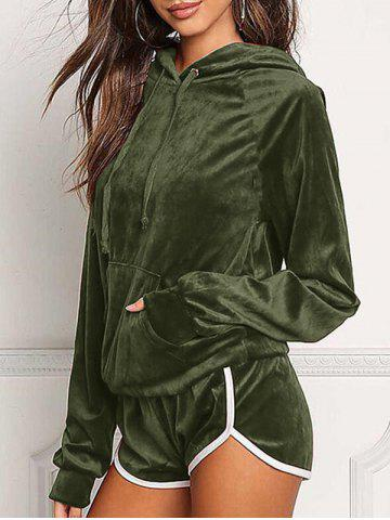 Unique Front Pocket Hoodie with Shorts - XL ARMY GREEN Mobile