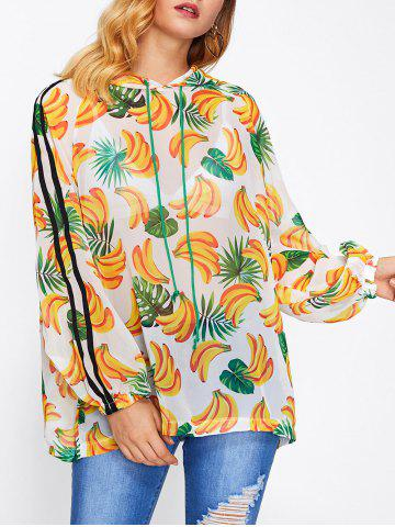 Online Banana Print Hooded Cover-Up - ONE SIZE FLORAL Mobile