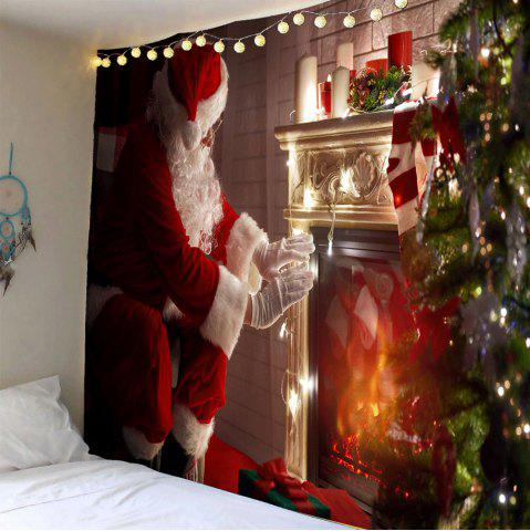 Outfit Front Fireplace Santa Claus Patterned Wall Tapestry - W79 INCH * L71 INCH COLORFUL Mobile
