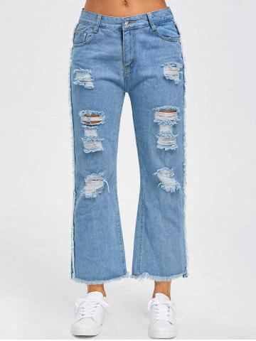 Best Frayed Raw Hem Wide Leg Jeans BLUE L
