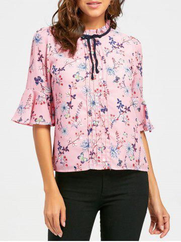 Hot Floral Ruffle Neck Self Tie Blouse - S PINK Mobile