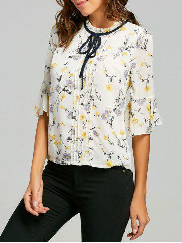 Online Floral Ruffle Neck Self Tie Blouse