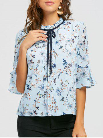 Chic Floral Ruffle Neck Self Tie Blouse - 2XL BLUE Mobile