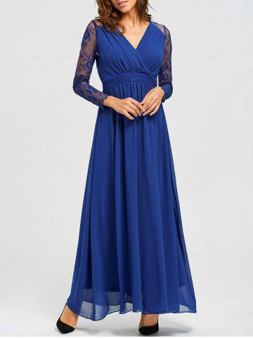Chic V-neck Long Lace Sleeve Floor Length Dress BLUE S
