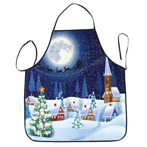 Sale Christmas Night Village Print Waterproof Kitchen Apron