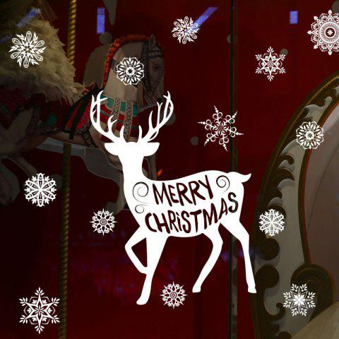 Trendy Christmas Deer Snoaflakes Decorative Pattern Wall Art Stickers