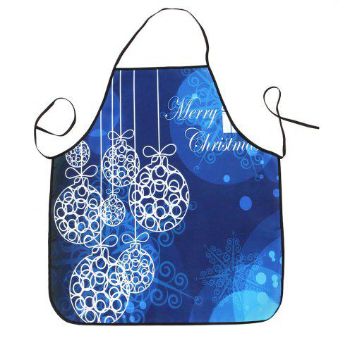 New Christmas Balls Print Waterproof Kitchen Apron BLUE 80*70CM