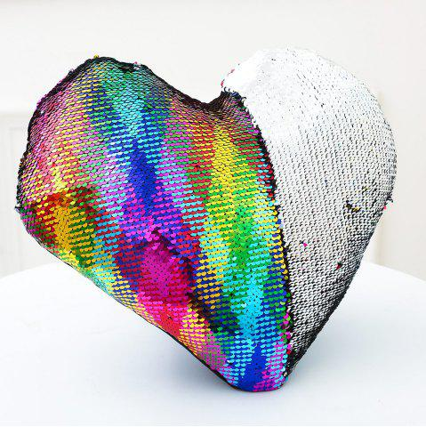New Reversible Sequin Mermaid Heart Shaped Sofa Pillow COLORFUL