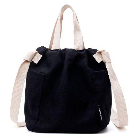 Online Convertible Canvas Pockets Drawstring Bag - BLACK  Mobile