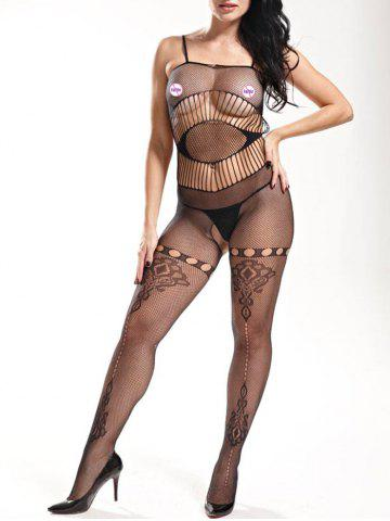 Trendy Slip Fishnet Lingerie Bodystockings - ONE SIZE BLACK Mobile