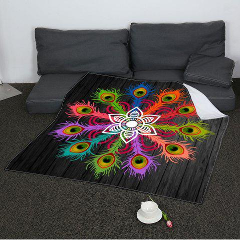 New Peacock Feathers Pattern Coral Fleece Sofa Blanket - W31 INCH*L59 INCH COLORFUL Mobile