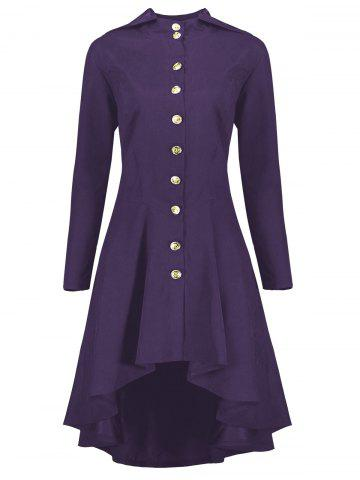 Buy Hooded Plus Size High Low Lace Up Coat PURPLE 5XL