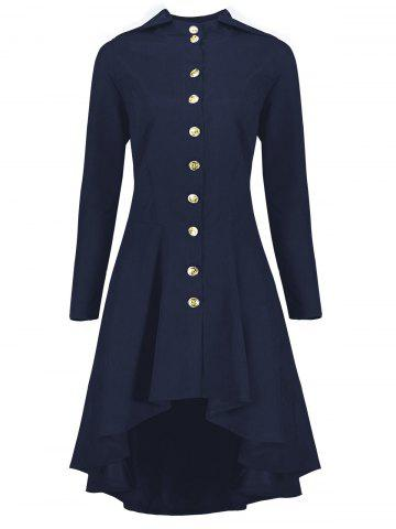 New Hooded Plus Size High Low Lace Up Coat - 5XL BLUE Mobile