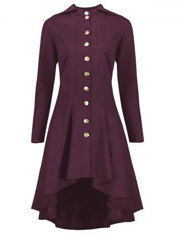 Latest Hooded Plus Size High Low Lace Up Coat - XL WINE RED Mobile