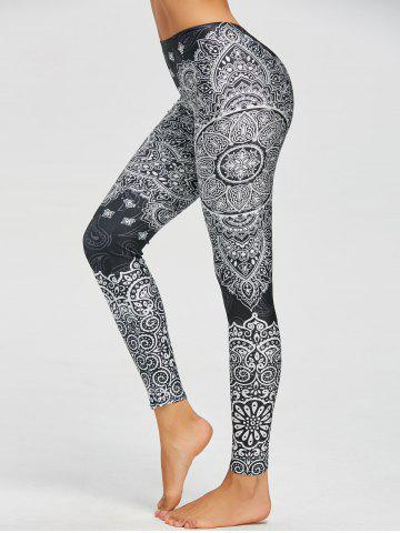 Chic Paisley Bohemian Print Leggings - M BLACK Mobile