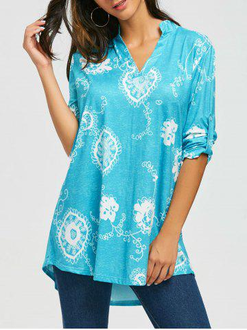 New Bohemian Print V Neck Blouse BLUE XL