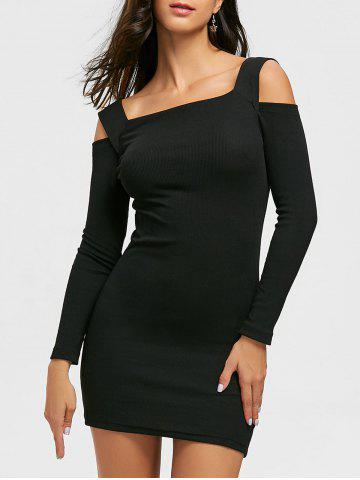 Hot Cold Shoulder Mini Bodycon Sweater Dress - XL BLACK Mobile