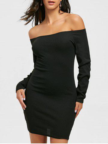 Fancy Off The Shoulder Mini Bodycon Dress - M BLACK Mobile