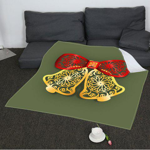Hot Coral Fleece Paper Cutting Christmas Bells Printed Blanket