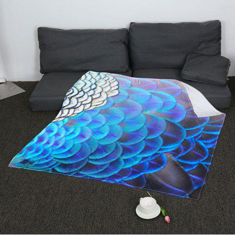 Fashion Coral Fleece Feathers Printed Blanket - W59 INCH * L79 INCH COLORFUL Mobile