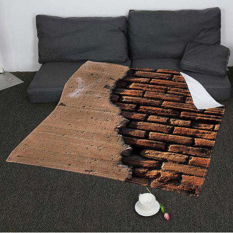 Sale Coral Fleece Retro Bricks Wall Printed Blanket - W47INCH*L59INCH BROWN Mobile