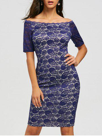 Online Lace Knee Length Off Shoulder Dress