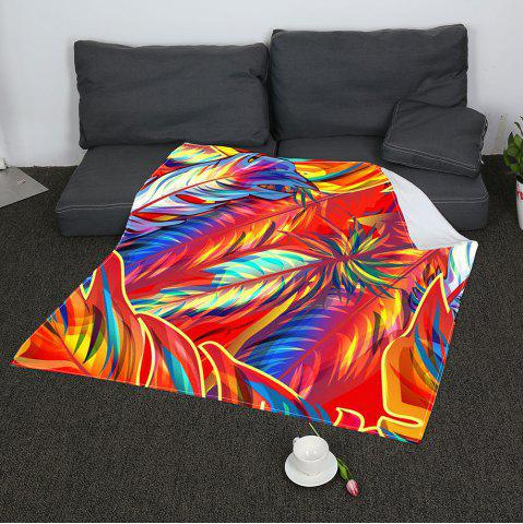 Outfits Colorful Feathers Printed Soft Coral Fleece Blanket