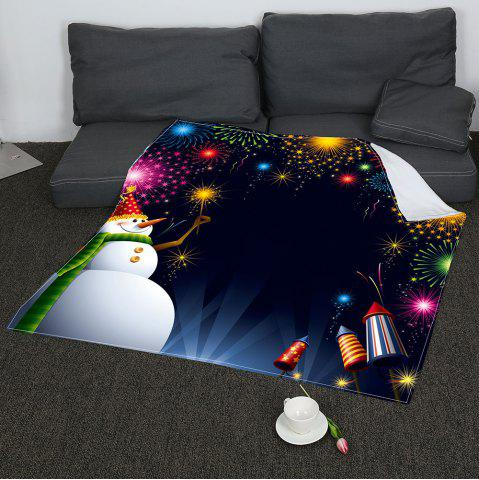 Chic Christmas Snowman Fireworks Pattern Coral Fleece Sofa Blanket
