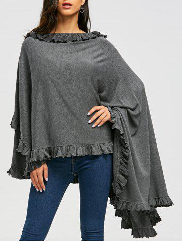 Best High Low Ruffle Convertible Coat - 2XL GRAY Mobile