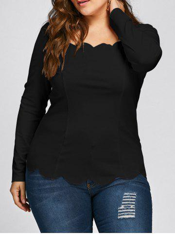 Store Plus Size Square Neck Scalloped Long Sleeve Top - 5XL BLACK Mobile